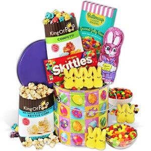 Hippity-Hoppity Easter Gift Stack This has the perfect amount of candy. Included are seasonal and classic treats like a milk chocolate bunny, gooey marshmallow Peeps, our exclusive Buttercup Candy Shoppe Gourmet Jelly Beans, Skittles, our exclusive King of POP Confetti Popcorn. http://awsomegadgetsandtoysforgirlsandboys.com/creative-easter-basket-ideas/ Hippity-Hoppity Easter Gift Stack