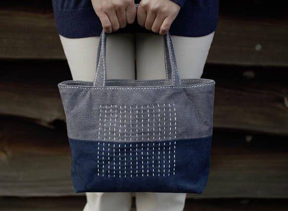 Leather Sashiko Tote Bag Small Tote Bag Japanese bag Suede #leathertote #leatherbag #sashiko #sashikobag #suedebag #suedetote