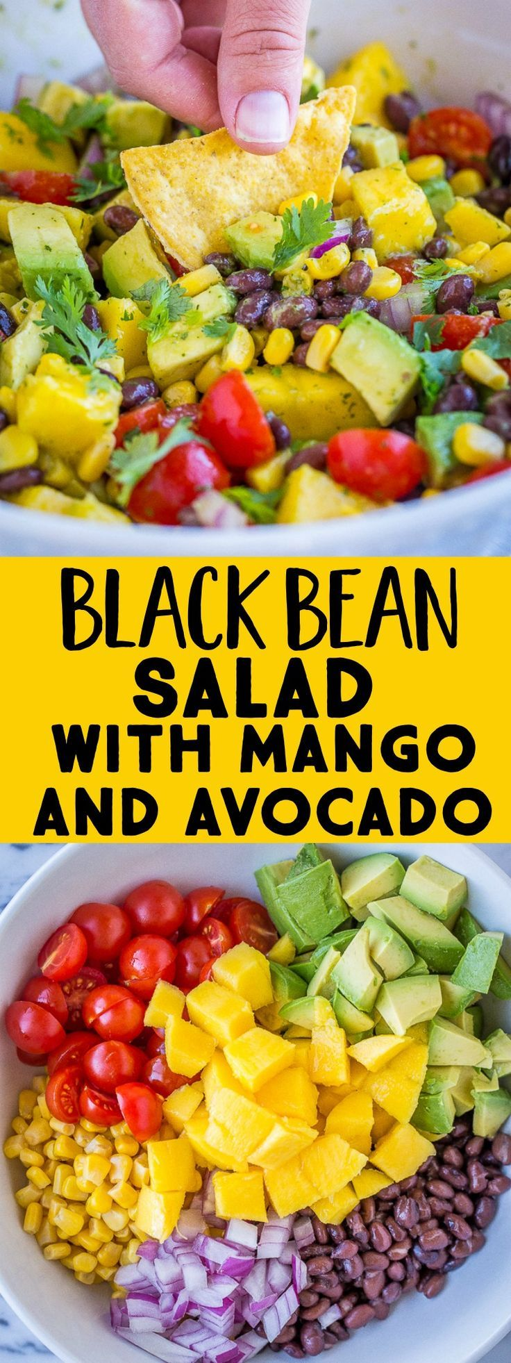 This Black Bean Salad with Mango and Avocado is sweet, savory and perfect for su…