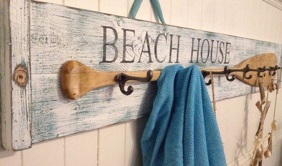 Paddle Hook Coat Rack House Oar Sign BEACH or LAKE HOUSE Decor by CastawaysHall  Made to Order. Please allow 10 business days to produce before shipping. You choose the colours; turquoise under white or brown under white and the words; Beach House or Lake House. Paddles used are vintage so they will vary a bit from the ones shown.  The perfect place to hang those swimsuits, coats, backpacks, towels or anything else you can think of. This long hook rack with a real vintage oar is a distressed…