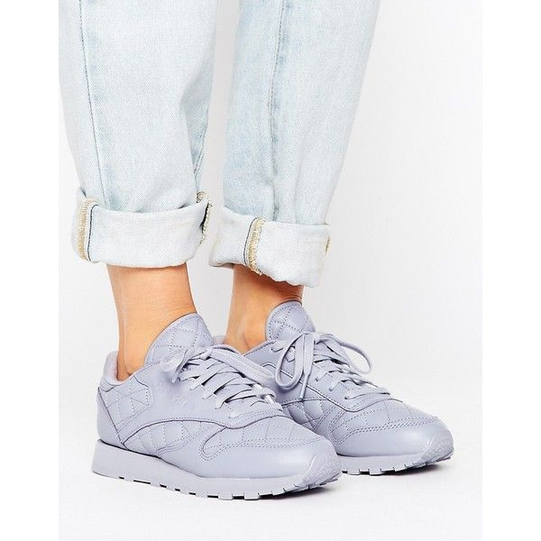 Reebok Classics Leather Quilted Trainer ($63) ❤ liked on Polyvore featuring shoes, sneakers, purple, lace up sneakers, purple sneakers, hi tops, reebok high tops and leather sneakers