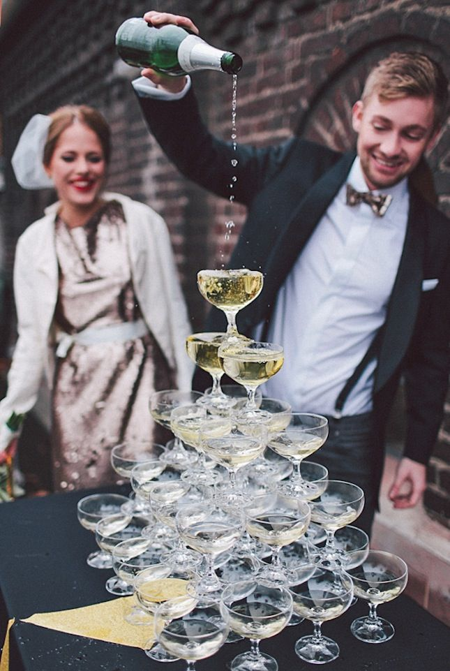 Kick off your reception with a champagne tower.