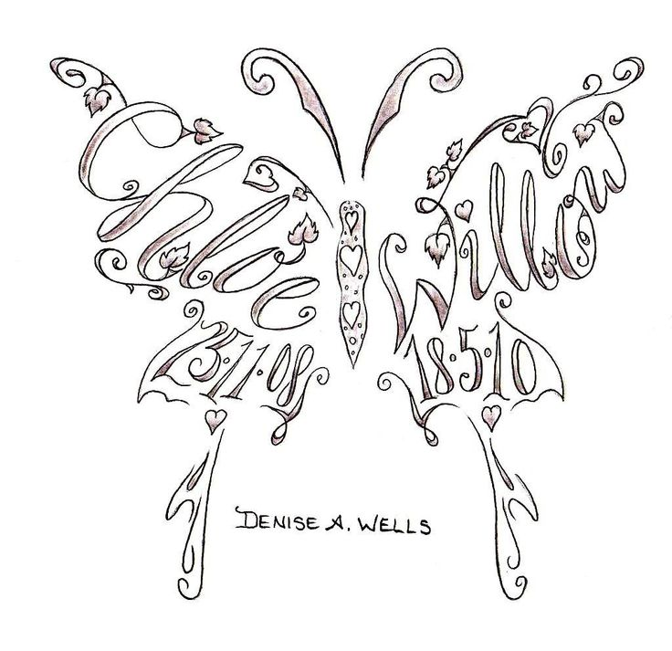 Denise A. Wells Butterfly Tattoo Design With Kids' Names