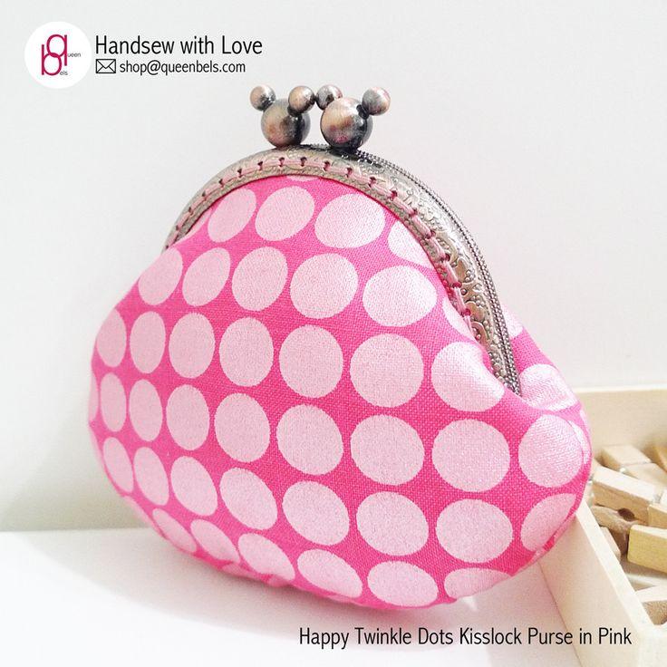 Happy Twinkle Dots Kisslock Purse in Pink