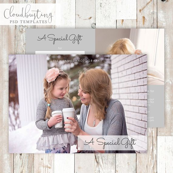 Photography Gift Certificate Card - Customizable Photoshop Template - https://www.etsy.com/listing/285371885