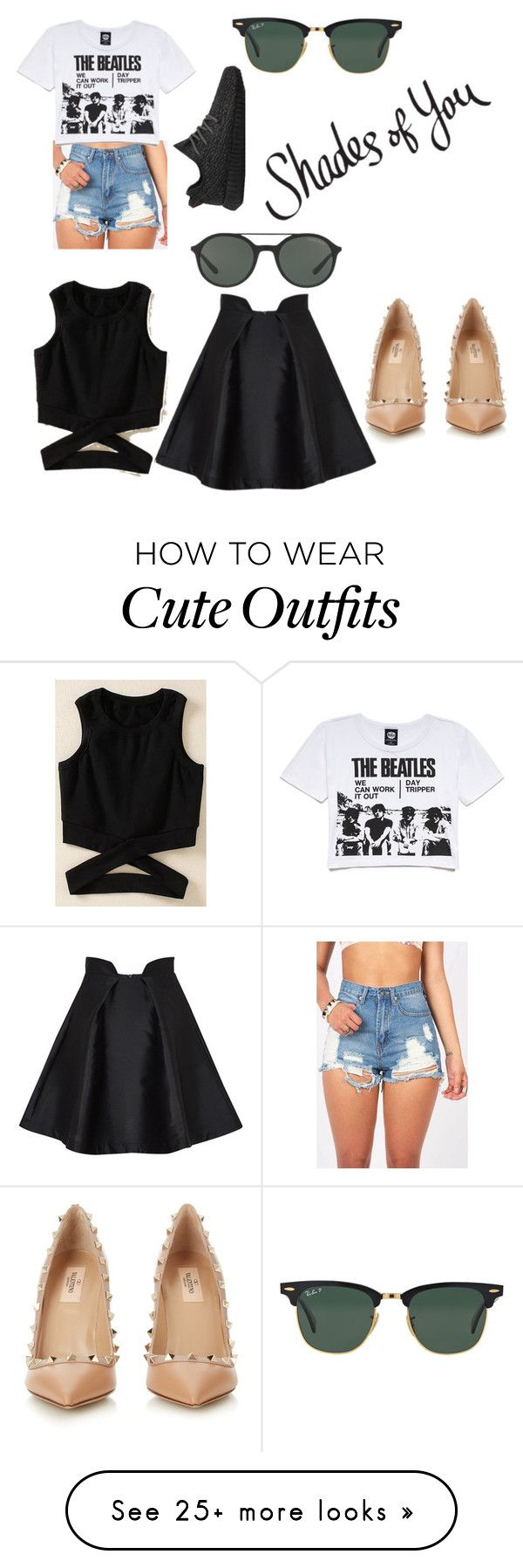 """""""Two cute summer outfits with glasses"""" by andreabarron on Polyvore featuring Ray-Ban, Giorgio Armani, Forever 21, adidas, Paper London, Valentino and shadesofyou"""