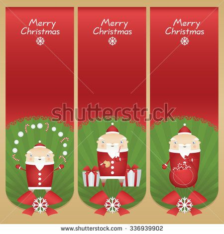 Set vector cartoon banners with flat icons Santa Claus with snowballs, candy sticks, glass of milk, cookie, presents and red sack - stock vector