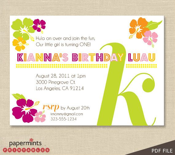 26 best willows party images on pinterest birthday party ideas printable hawaiian luau party invitation stopboris Choice Image