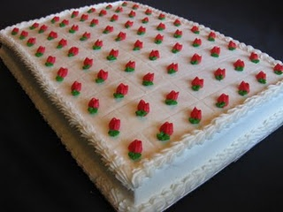Wedding sheet cake. Reminds me of the cakes my granny used to make for weddings and teas.