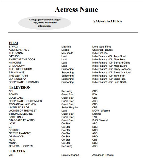 Sample Acting Resume Template , How To Create A Good Acting Resume Template  , Acting Resume  Acting Resume With No Experience