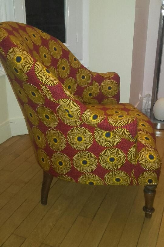 armchair Toad wax VLISCO 'Disk' by MAYKINCH on Etsy