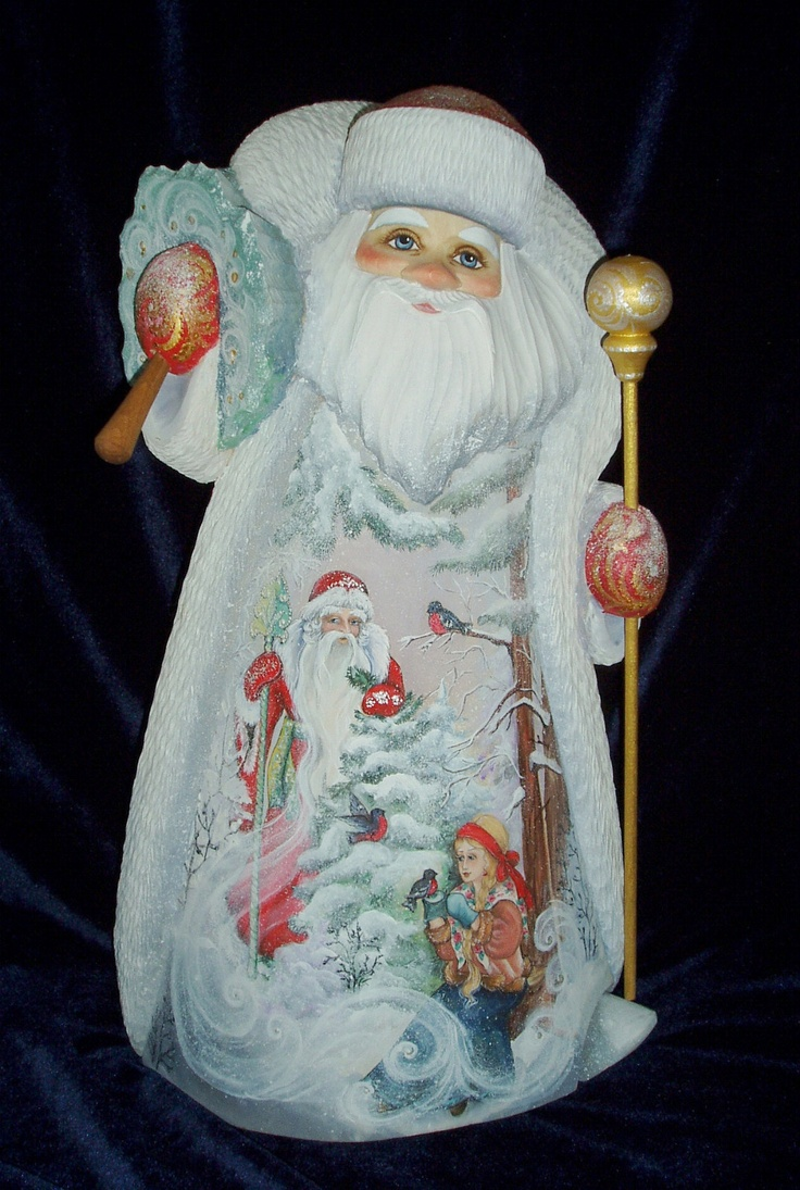 """Nice Russian Hand Carved Wood Santa pictures Snow Maiden Father Frost 15 """" 