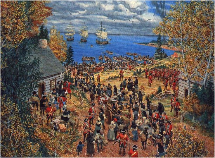 The Deportation of the Acadians by the British .Acadians awaiting deportation from Nantes, France to Louisiana