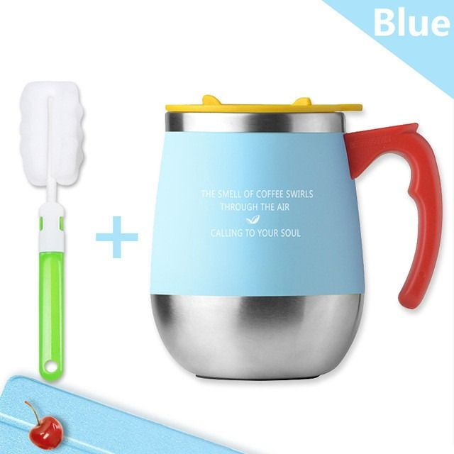 450ML Mug Coffee Cup Stainless Steel Milk Tea Mug Keep Mugs With Handle Anti-Dust Coffee Mugs Seal Mass Tea Water Bottle Tazas (Green)