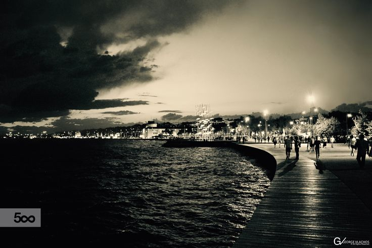 Storm is approaching at the waterfront of Thessaloniki, Greece.