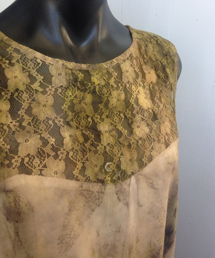 Image of eco dyed lace feature tunic - altered couture by rita summers
