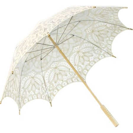 Perfect for outdoor photo shoots or special occasions, this lovely parasol umbrella features a lace design and an ivory hue.  Produc...