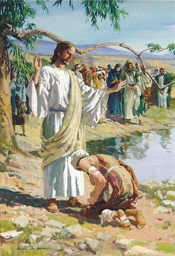 "Christ with the cleansed leper who returned with thanks (see Luke 17:12-19). ""And one of them, when he saw that he was healed, turned back, and with a loud voice glorified God, fell down on his face at his feet, giving him thanks: and he was a Samaritan. And Jesus answering said, Were there not ten cleansed? But where are the nine? There are not found that returned to give glory to God, save this stranger. And he said unto him, Arise, go thy way: thy faith hath made thee whole."""