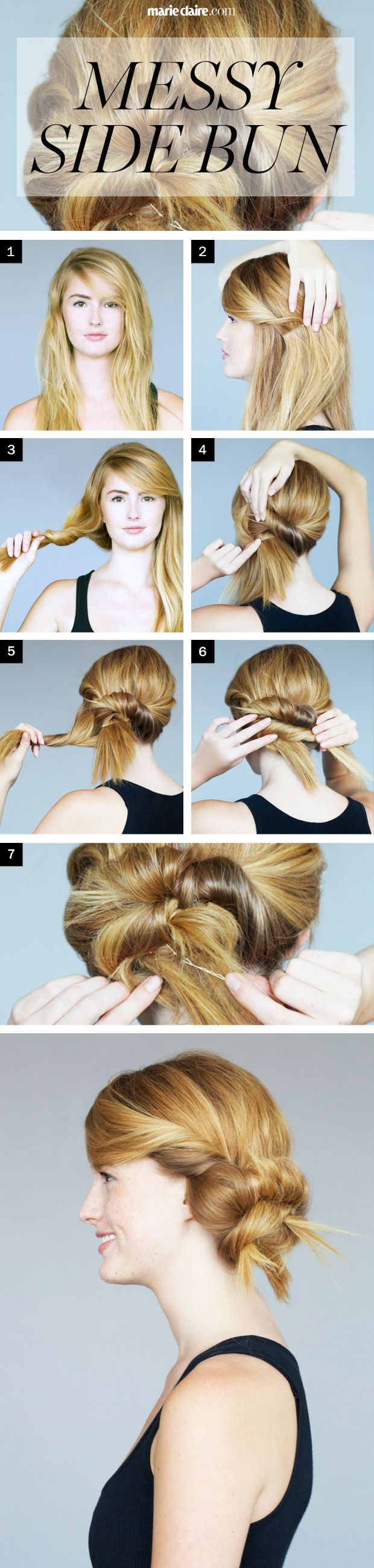 Hair How-To: Messy Side Bun with a Twist   We love a messy side bun hairstyle, so find out how to do it on your own! Follow these easy steps to create the style.