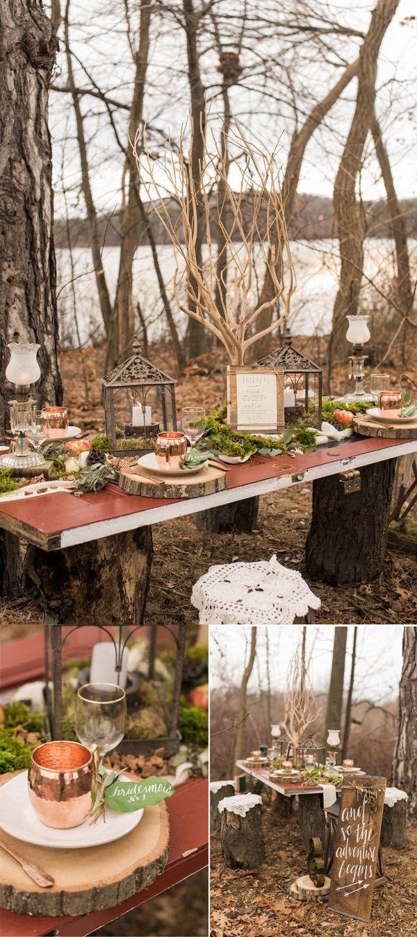 rustic woodland outdoor fairytale spring wedding tablescape