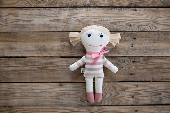 Handmade Rag Doll Pink Dress / Plush Sewing / Gift by MadeByUgne