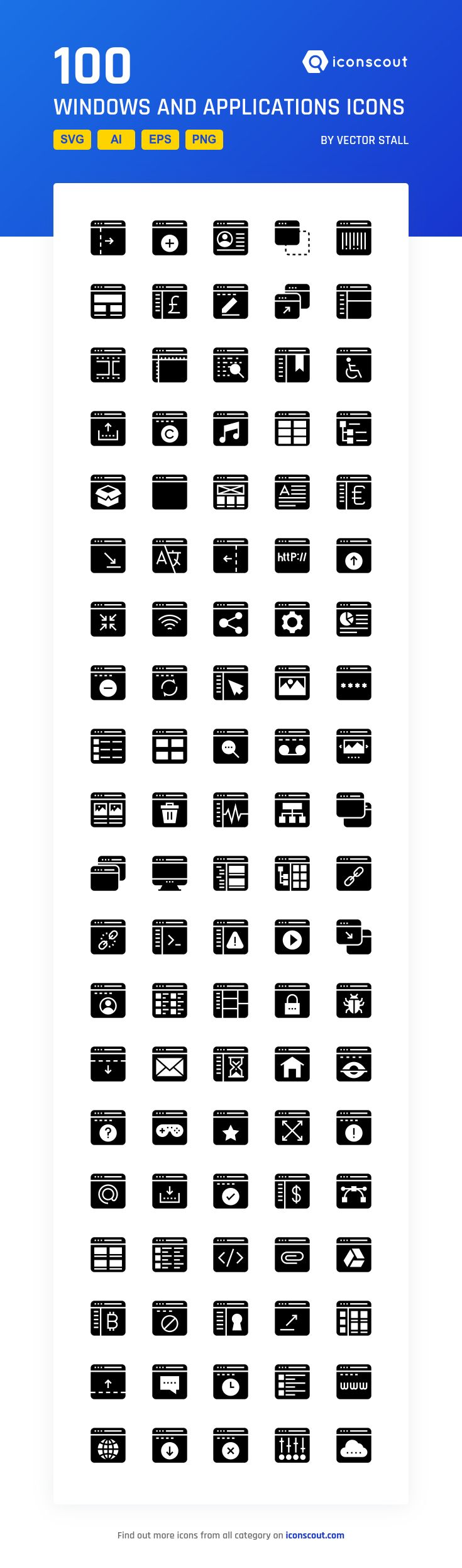 Windows And Applications  Icon Pack - 100 Solid Icons