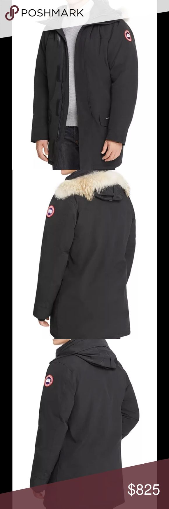 Canada Goose Langford Parka with Fur Hood Designed with an athletic cut for a trim fit Detachable fur trim on collar Zip and VELCRO® brand closure Angled chest pockets, flap hand pockets Real coyote fur; natural; origin: Canada Slim fit: athletic cut, designed to fit closer to the body, maximizes mobility while maintaining core warmth Polyester/cotton; lining: nylon; fill: white duck down; hood trim: fur Canada Goose Jackets & Coats Puffers