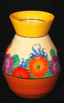 Vase by Clarice Cliff in the Gayday pattern and shape