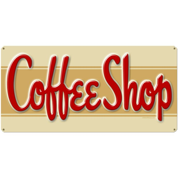 Coffee Shop Stripe Large Metal Sign | Vintage Cafe Signs | RetroPlanet.com Complete your vintage coffee shop look with this Large Coffee Shop Tin Sign. The retro graphics give this sign a classic mid-century look. Add a nostalgic look to your wall decor with a sign that brings to mind the great old days of the neighborhood coffee shop.