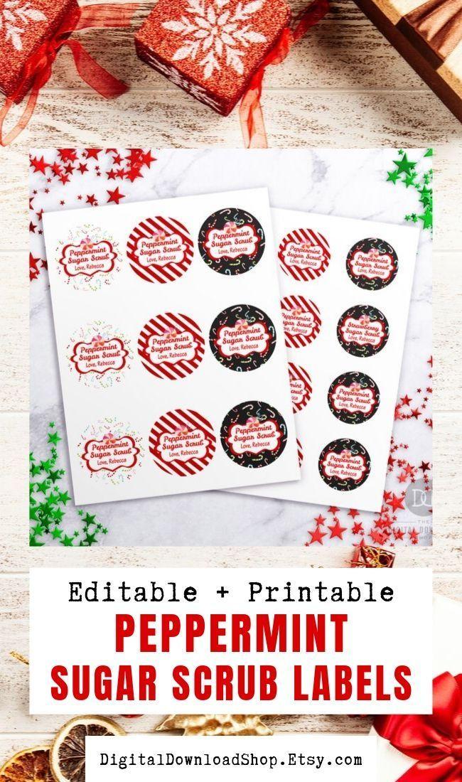Sugar Scrub Labels Peppermint Editable Printable Christmas Etsy Sugar Scrub Labels Christmas Printable Labels Mason Jars Labels