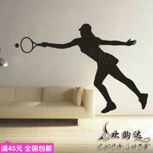 sport tennis muursticker vrouw meisje tennies speler pvc kunst muursticker centrum tennis sport slaapkamer muur sticker huisdecoratie(China (Mainland))