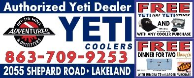 Off The Wall Adventures Is Lakelands Newest and Best In-Stock YETI Dealer. Your one stop Outfitter for all your needs! Let us help you on your next Adventure!