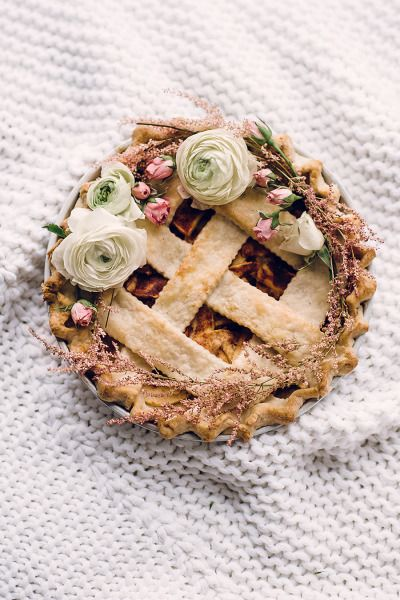 Floral decorated apple pie: http://www.stylemepretty.com/living/2014/11/19/a-cozy-creative-apple-pie-workshop-a-recipe/   Photography: Sally Mae - http://www.sallymaephoto.com/