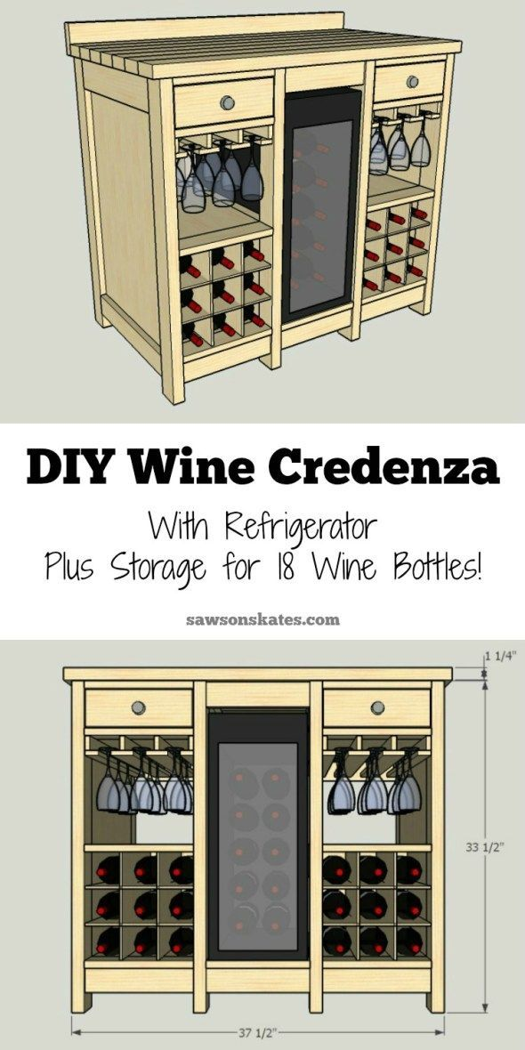 This small DIY wine credenza features a wine refrigerator, wine glass storage, plus storage for 18 wine bottles. AWESOME!