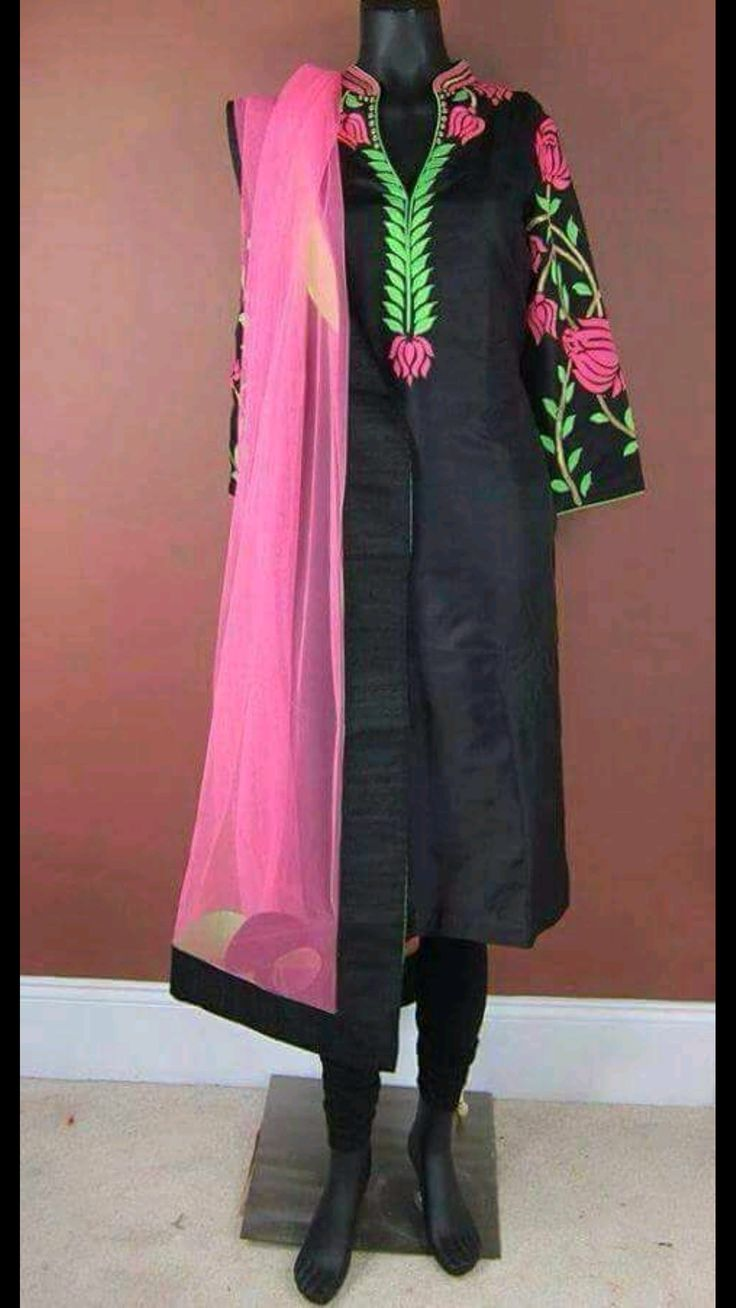 Pure cotton designer black suit with machine embroidery