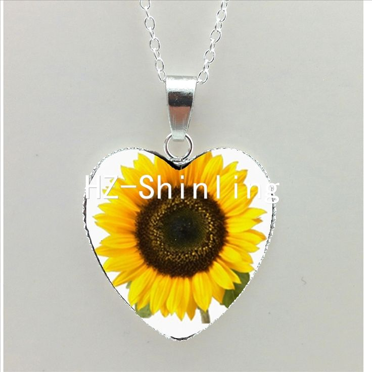 New Sunflower Heart Necklace Yellow Sunflower Pendant Glass Picture Jewelry Silver Heart Necklace HZ3 #Affiliate