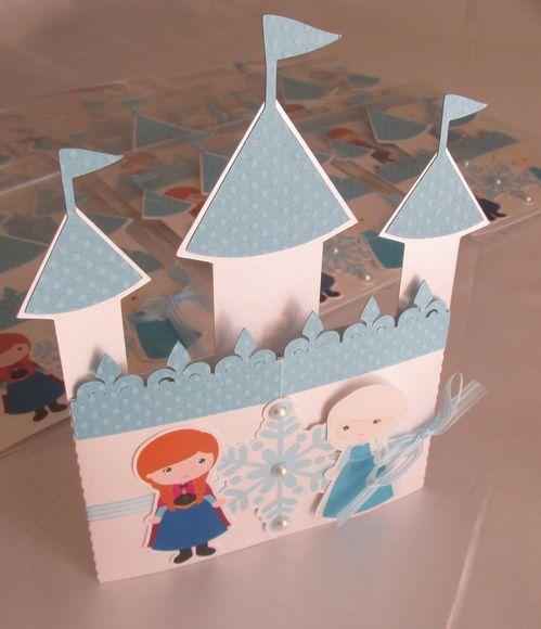 Convite Castelo Frozen * Fita de cetim + organza  * Acabamento com mini pérolas