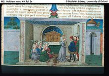 The Decameron - Miniature by Taddeo Crivelli in a manuscript of c. 1467 from Ferrara (Bodleian Library, Oxford)[4]