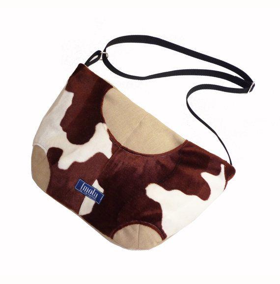 Faux fur cow pattern purse crossbody bag concealed carry purse