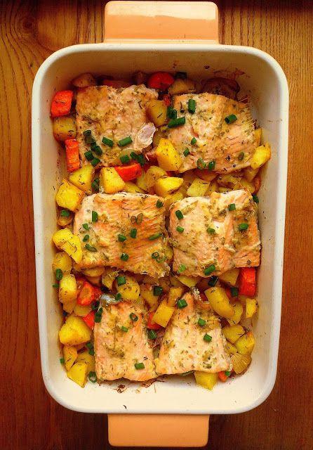 Lekcje w kuchni: Łosoś w musztardowo-ziołowej marynacie / Baked Salmon with Mustard and Herbs