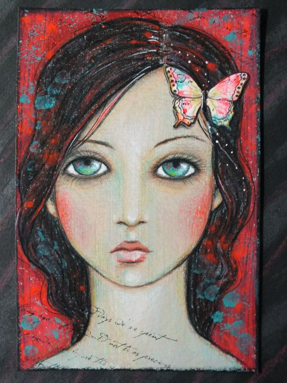 original ooak 4x6 mixed media acrylic colored by Pennystamper, $35.00, Etsy