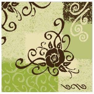 Lyon Green luxusné svadobné  servítky z netkanej textílie, zelené, čokolácové, ruža  rozmer 40x40