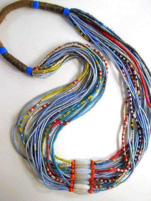 African Yoruba Tribal Beaded Necklace from Nigeria
