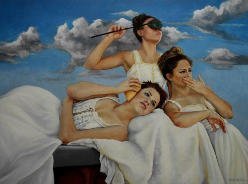 """Hear No Evil, Speak No Evil, See No Evil III , by Kimberly Dow    Original oil painting on archival panel, 30x40"""" unframed."""