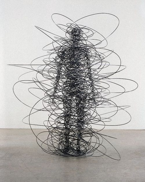 Feeling Material by Antony Gormley contemporary wire figure sculpture from the abstract and figurative conceptual modern brit art genius