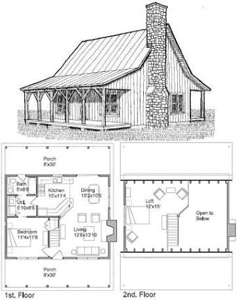 2 bedroom cabin plans with loft - Google Search