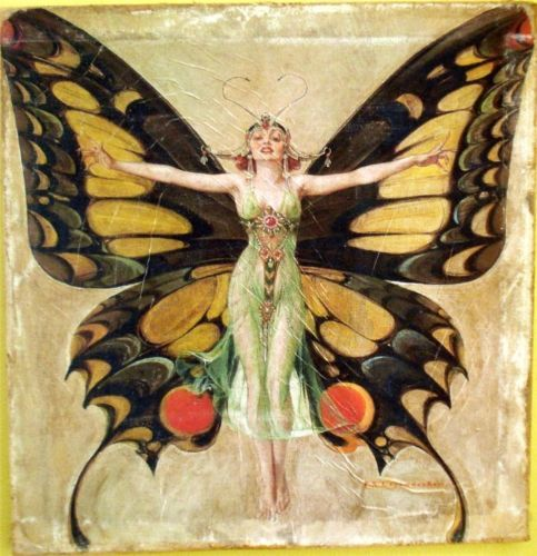 VINTAGE-ART-PAINTING-PRINT-BUTTERFLY-ART-DECO-ON-CANVAS-READY-TO-HANG-RARE