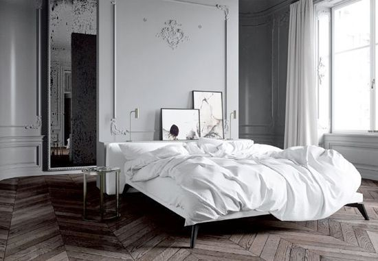 Beautiful art in gorgeous Parisian apartment. #french #mouldings #white #bed #bedroom #photography