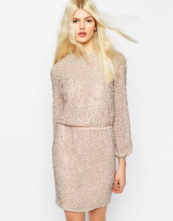 asos collection asos premium pearl cluster long sleeve