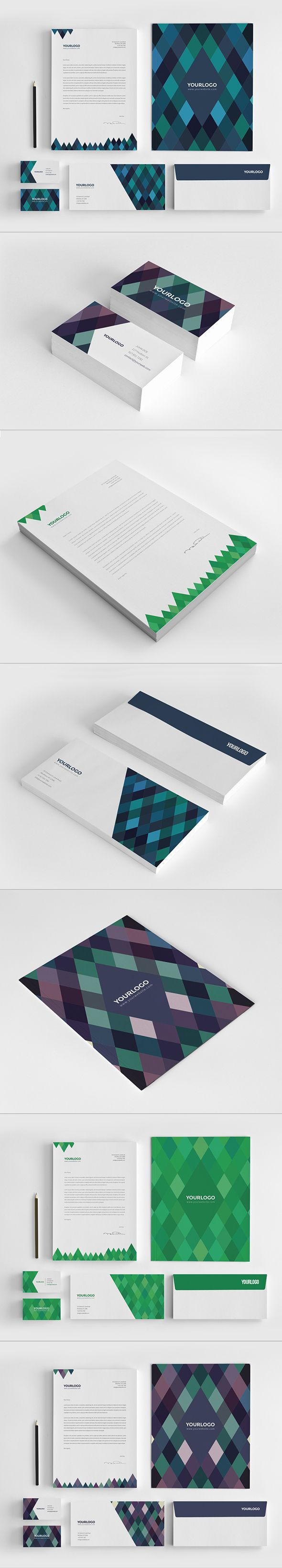 Diamonds Stationery Pack by Abra Design, via Behance #branding #identity